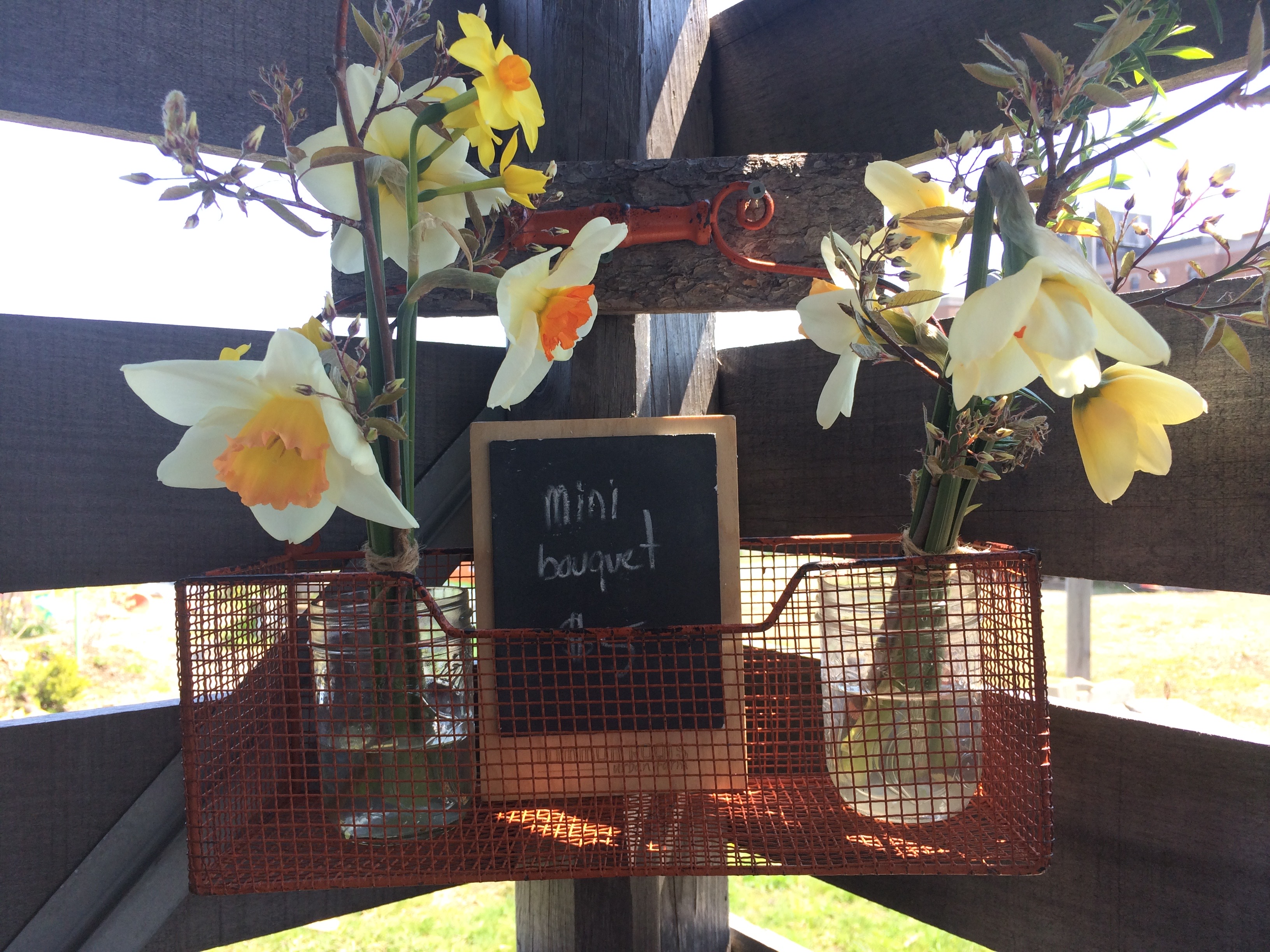 The cute inside of our tiny on-farm market stand, in spring.